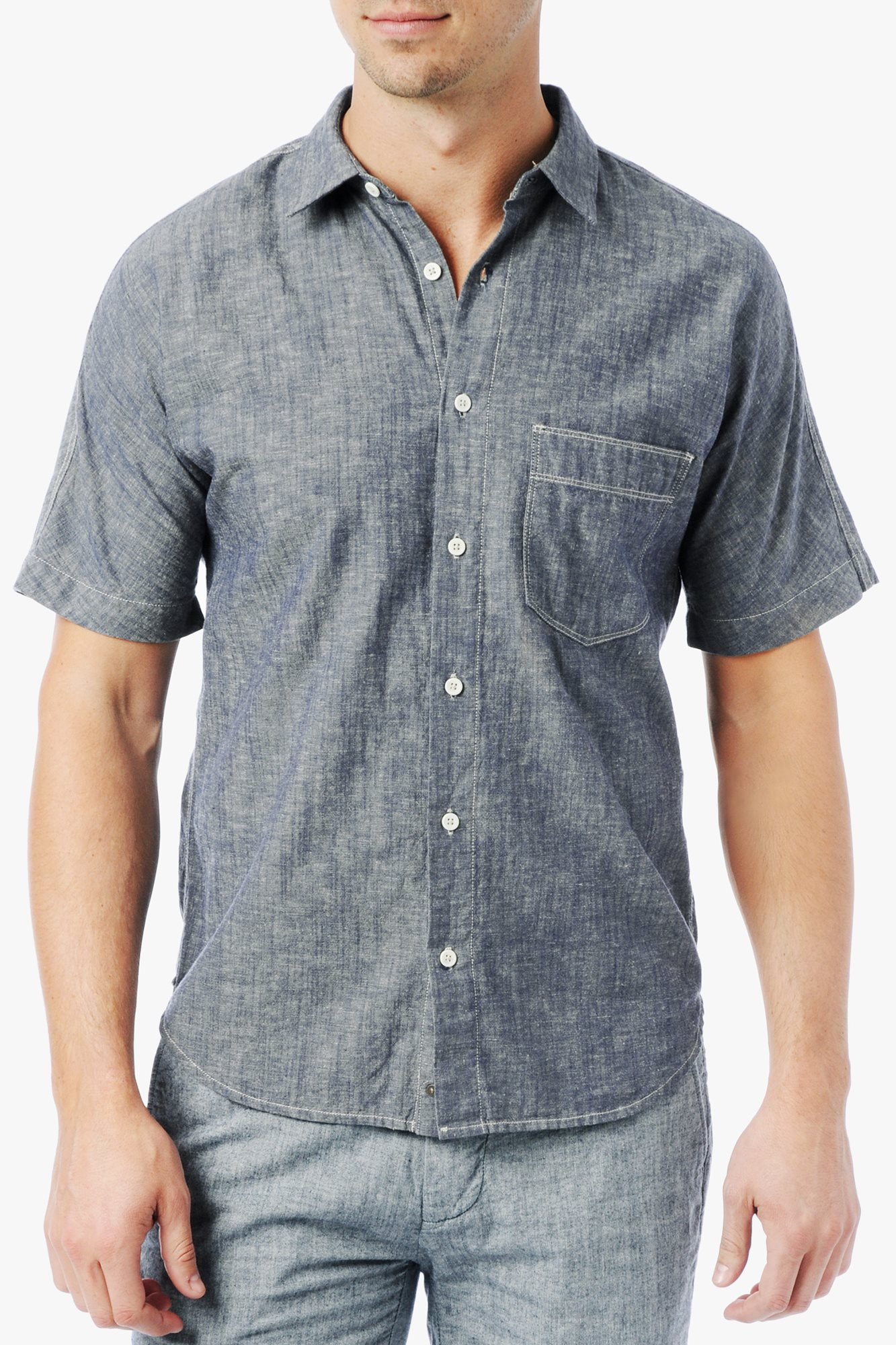 Lyst 7 For All Mankind Short Sleeve Chambray Shirt In
