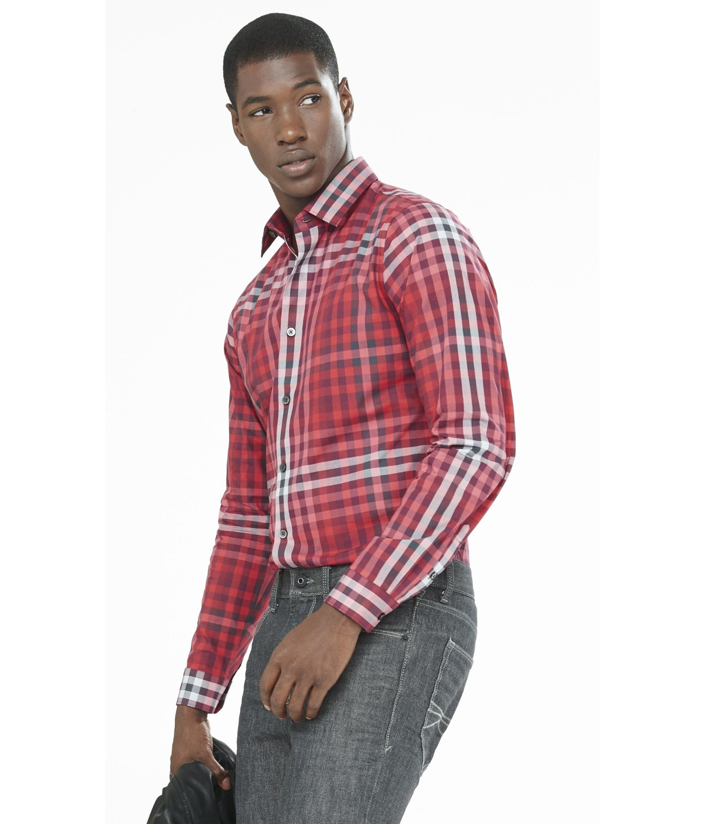 Lyst express fitted ombre plaid dress shirt in red for men for Red plaid dress shirt