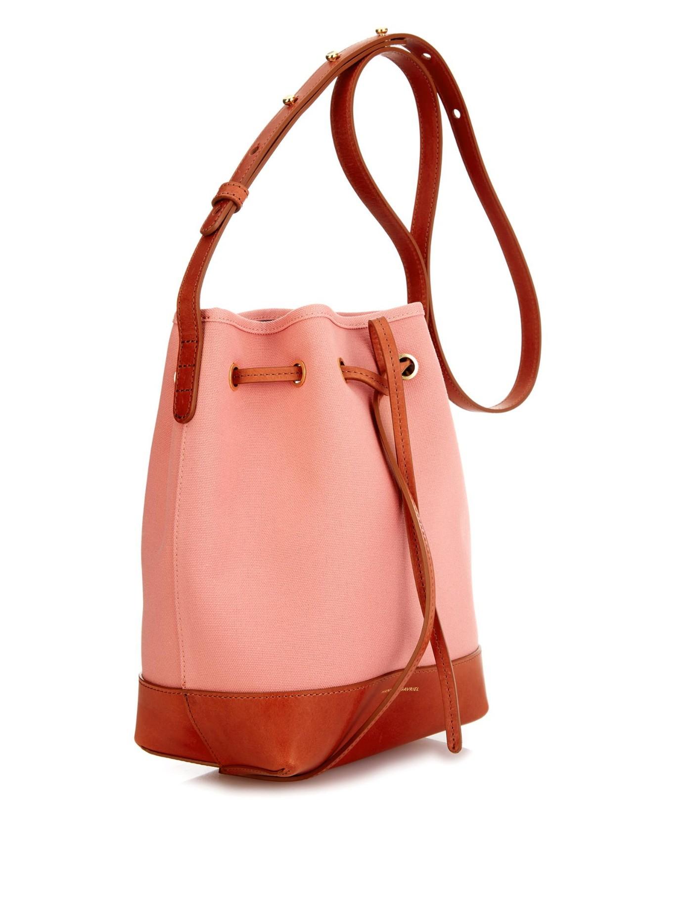 lyst mansur gavriel mini canvas and leather bucket bag. Black Bedroom Furniture Sets. Home Design Ideas