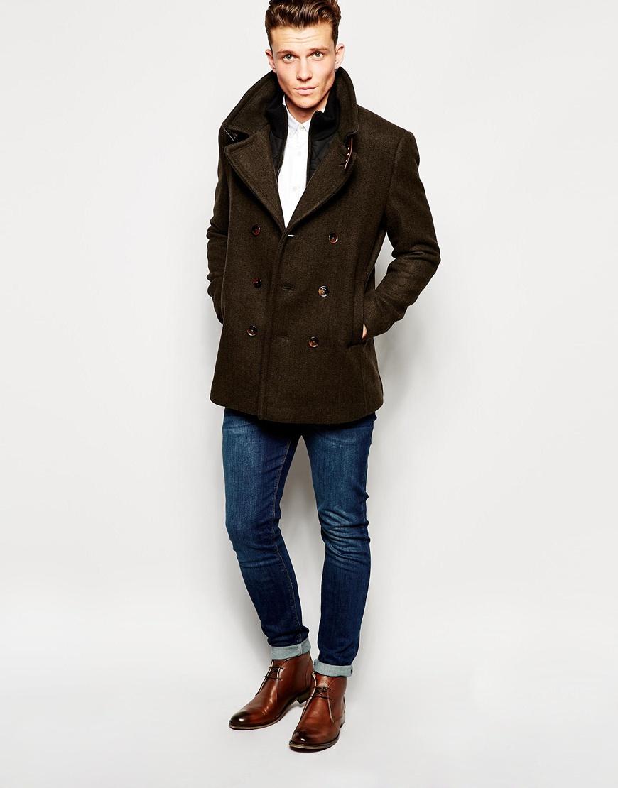 b69fbfa19edd84 Lyst - Ted Baker Wool Pea Coat in Brown for Men