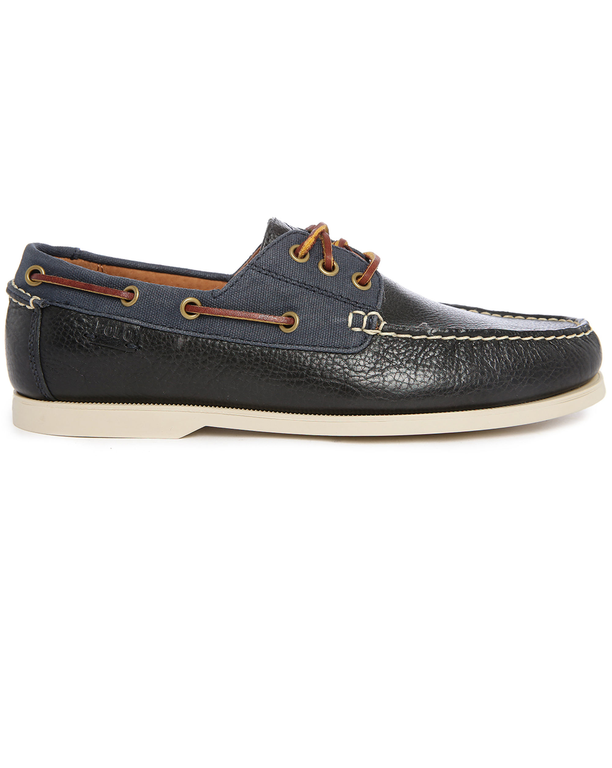 polo ralph bienne ii two tone navy leather canvas