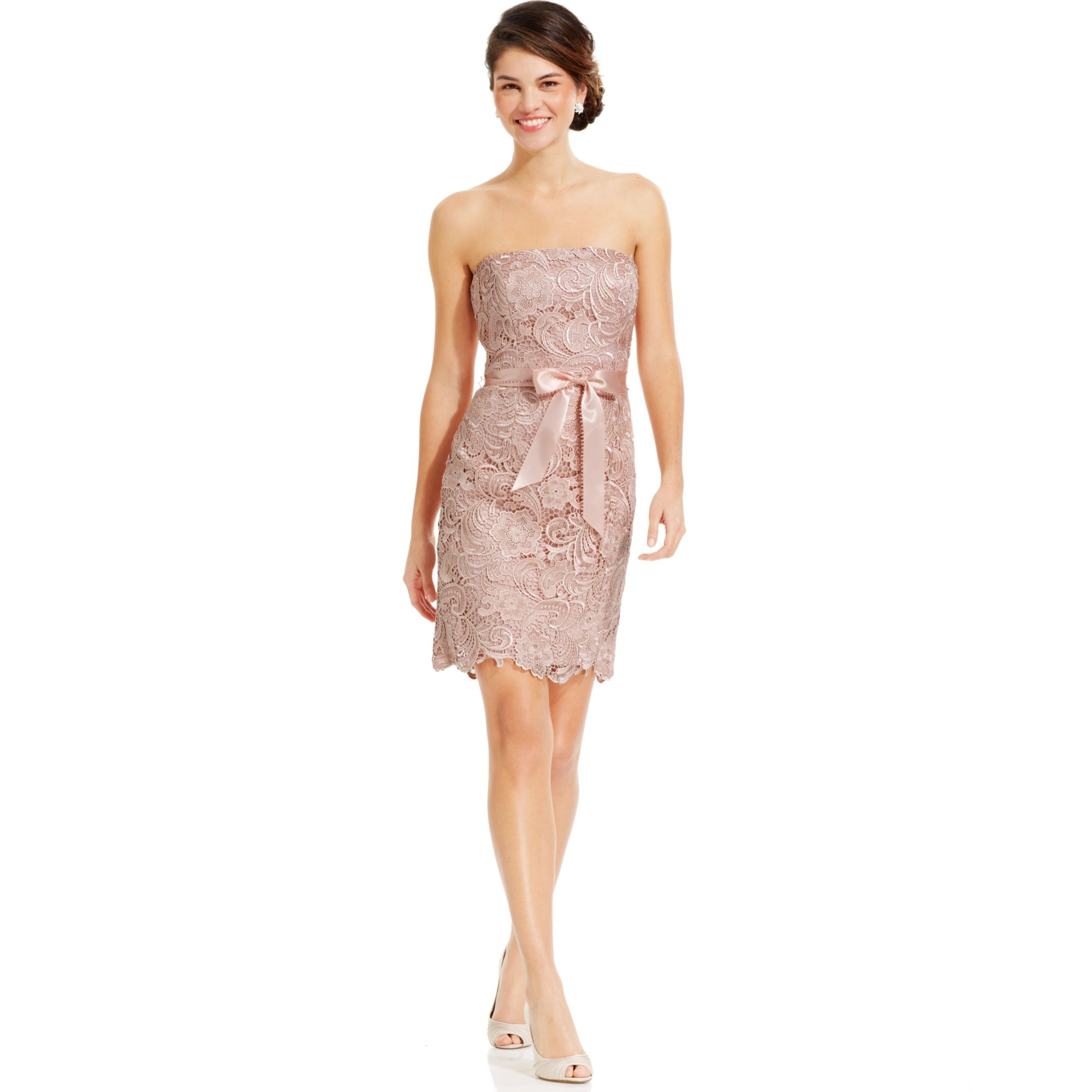 Adrianna papell Strapless Lace Sheath in Pink | Lyst