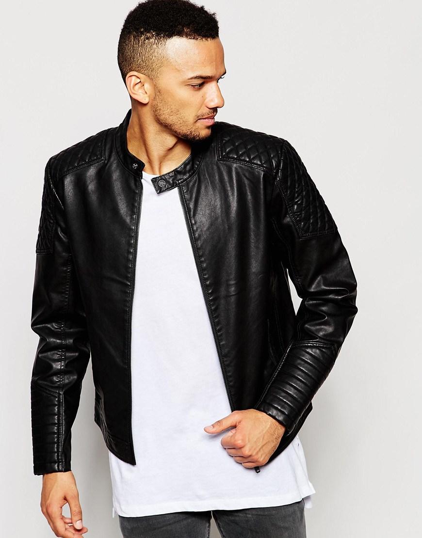 Brown faux leather biker jacket mens