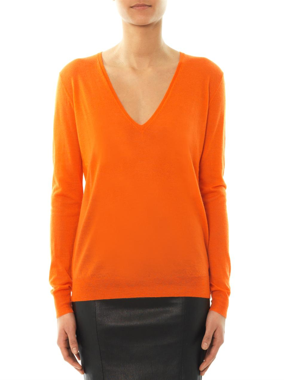 Joseph Vneck Cashmere Sweater in Orange | Lyst