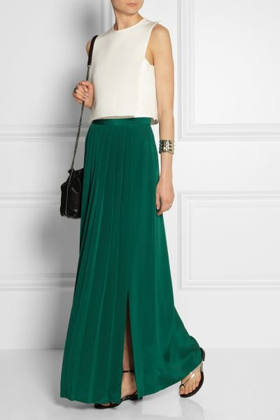 tibi pleated washed silk maxi skirt in green emerald lyst