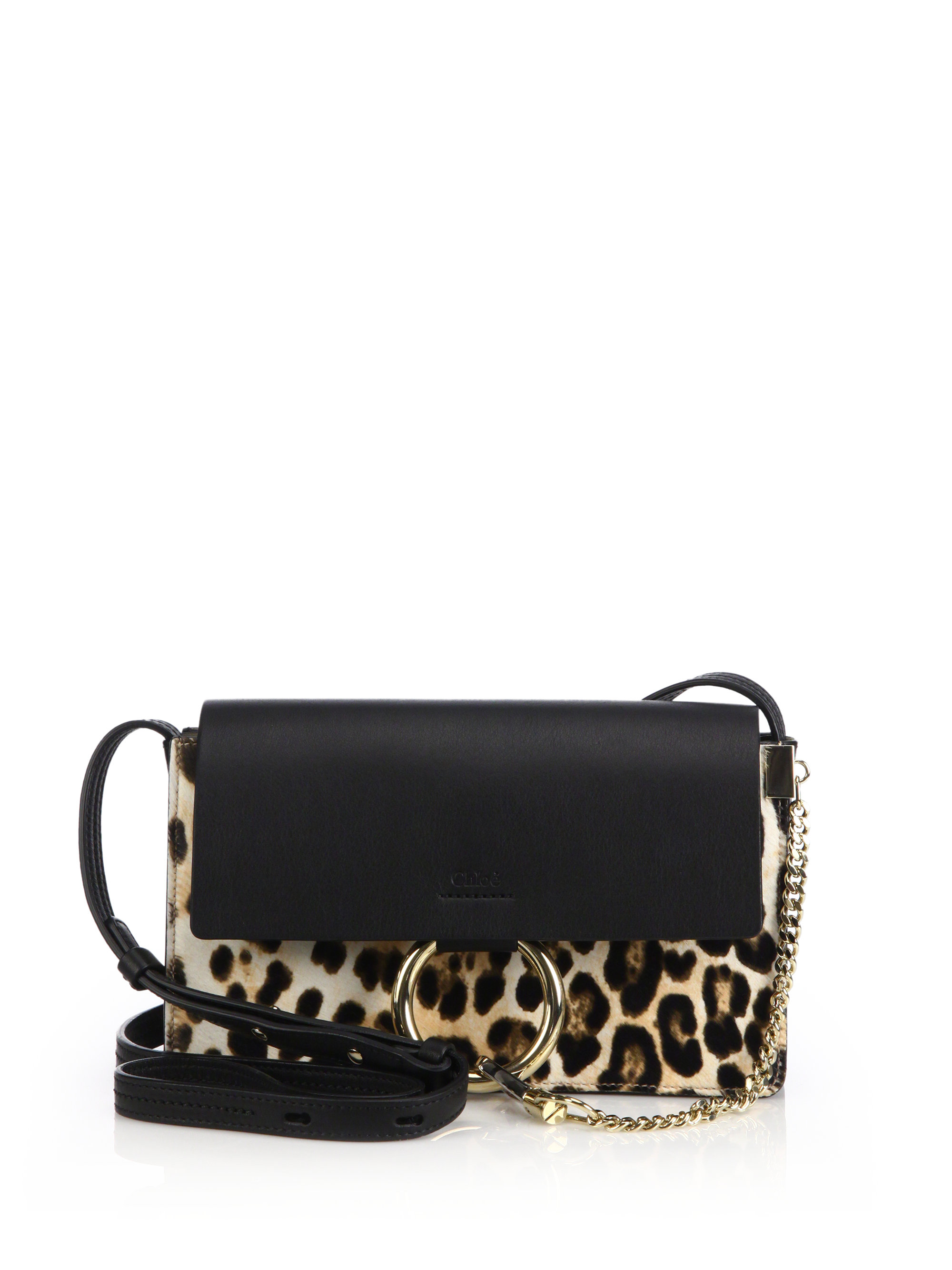 Chlo�� Faye Small Leopard-Print Leather Cross-Body Bag in Animal ...