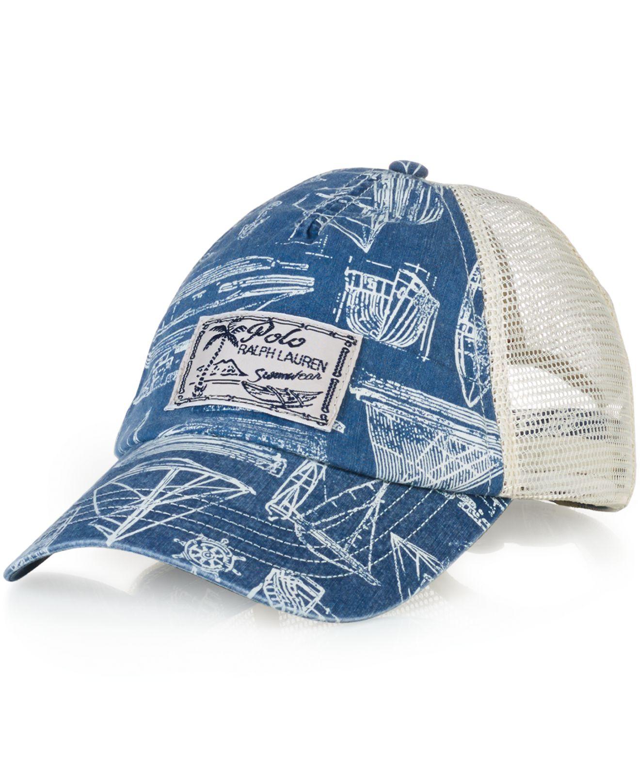 89cddf18b6ce7 Lyst - Polo Ralph Lauren Nautical Trucker Hat in Blue for Men