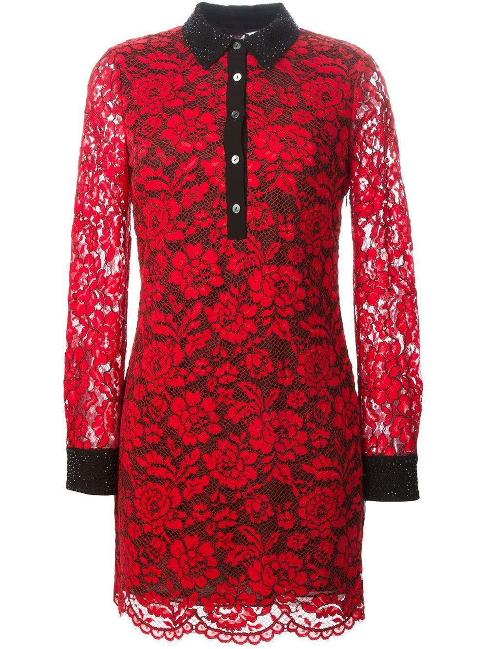 Diane Von Furstenberg Floral Lace Shirt Dress In Red Lyst