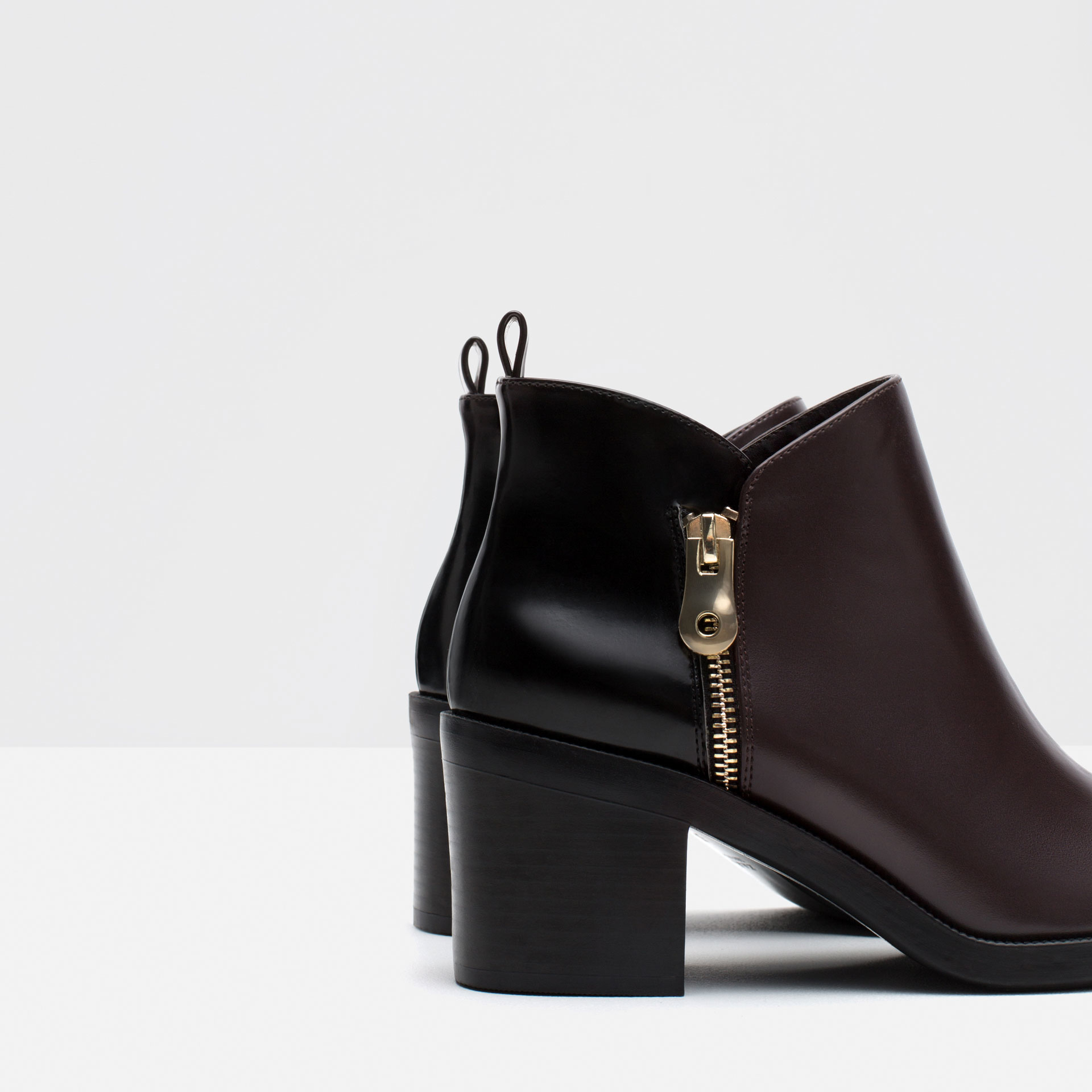 zara combined ankle boots in purple burgundy lyst