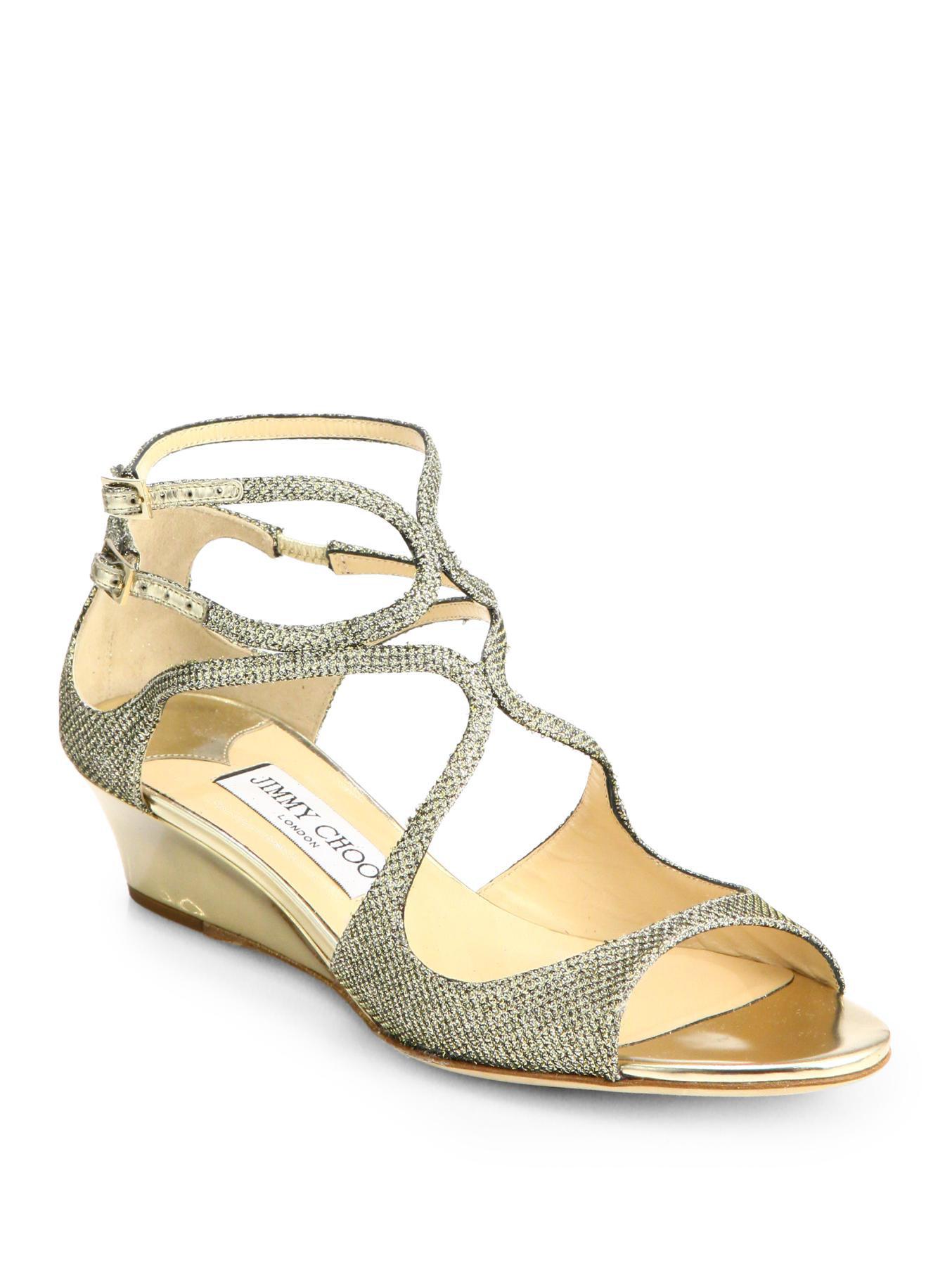 e3ee34d276d1 Lyst - Jimmy Choo Inka Glitter Lam Eacute  Demi-Wedge Sandals in ...