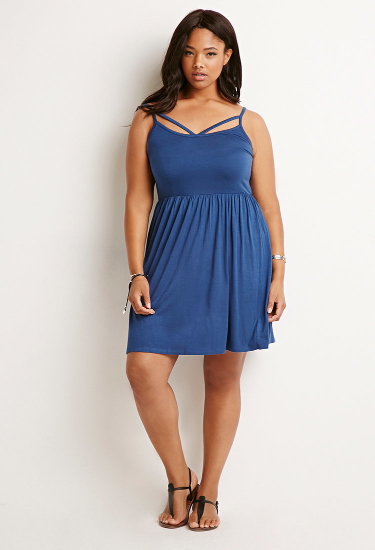 Lyst - Forever 21 Plus Size Strappy Cami Smock Dress in Blue e92d3c78e