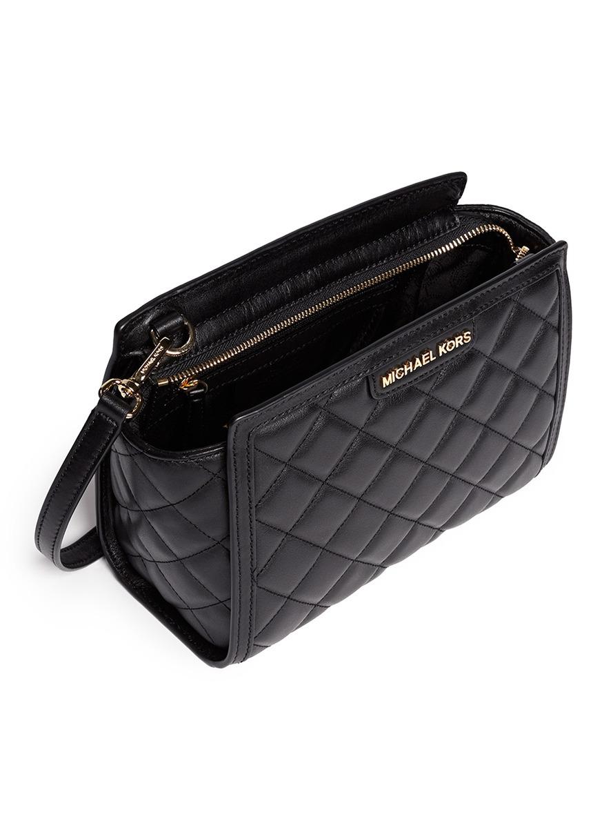 a7e96af794f8 Michael Kors 'selma' Medium Quilted Leather Messenger Bag in Black ...