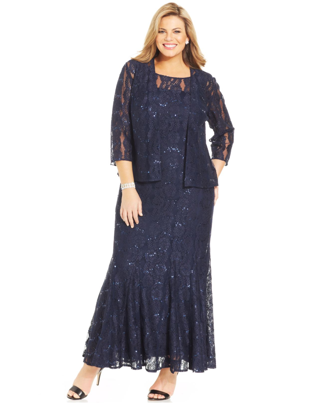 25315023 Alex Evenings Plus Size Sequin Lace Gown And Jacket in Blue - Lyst