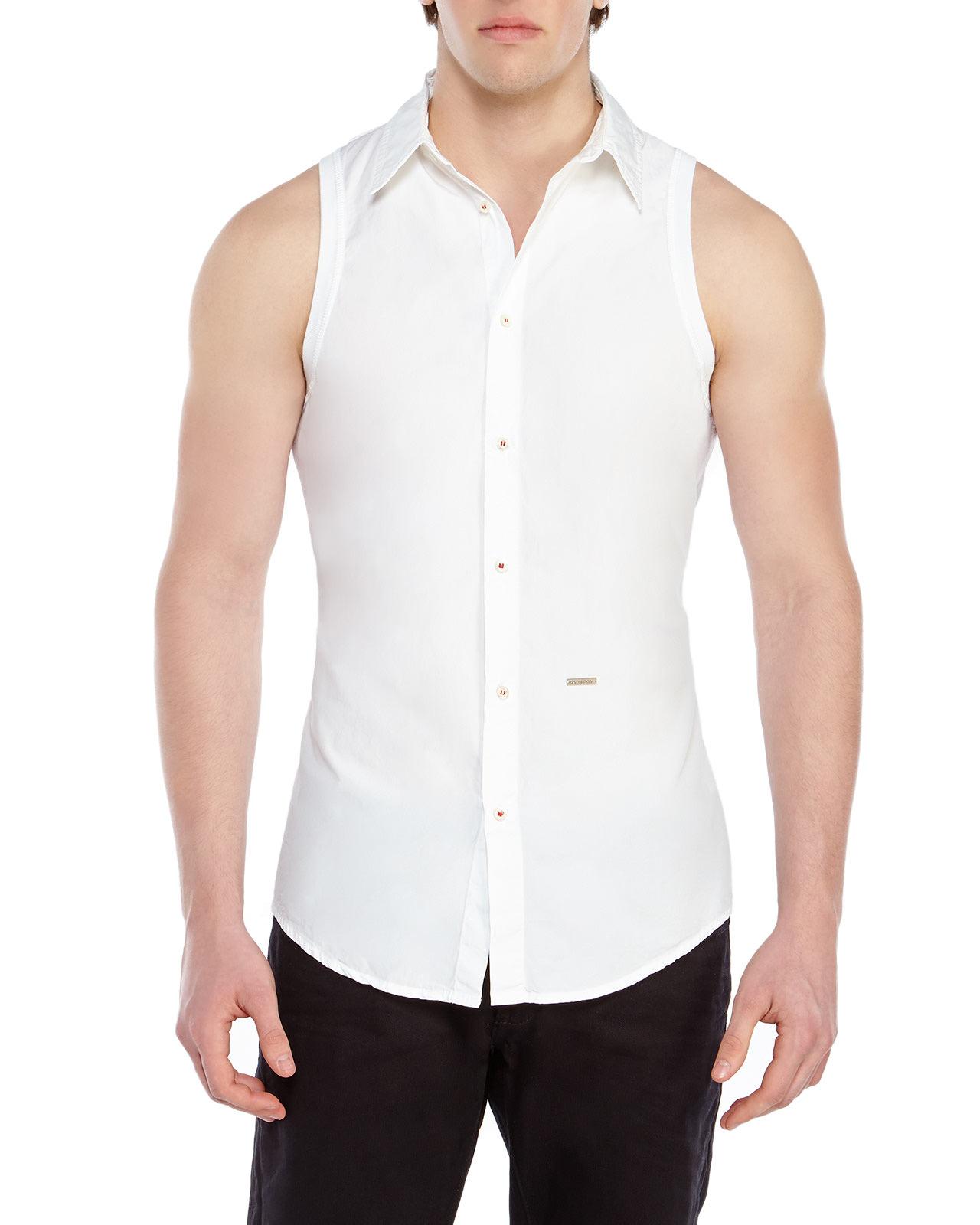 Dsquared² White Sleeveless Shirt in White for Men | Lyst