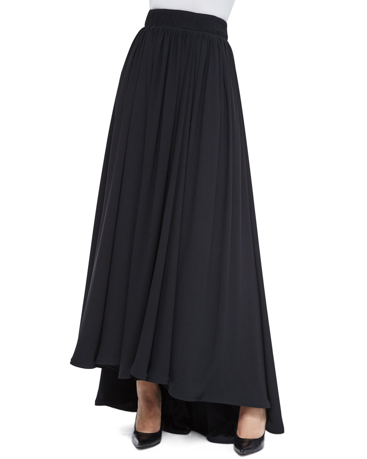 Escada Long High-waist Pleated Skirt in Black | Lyst
