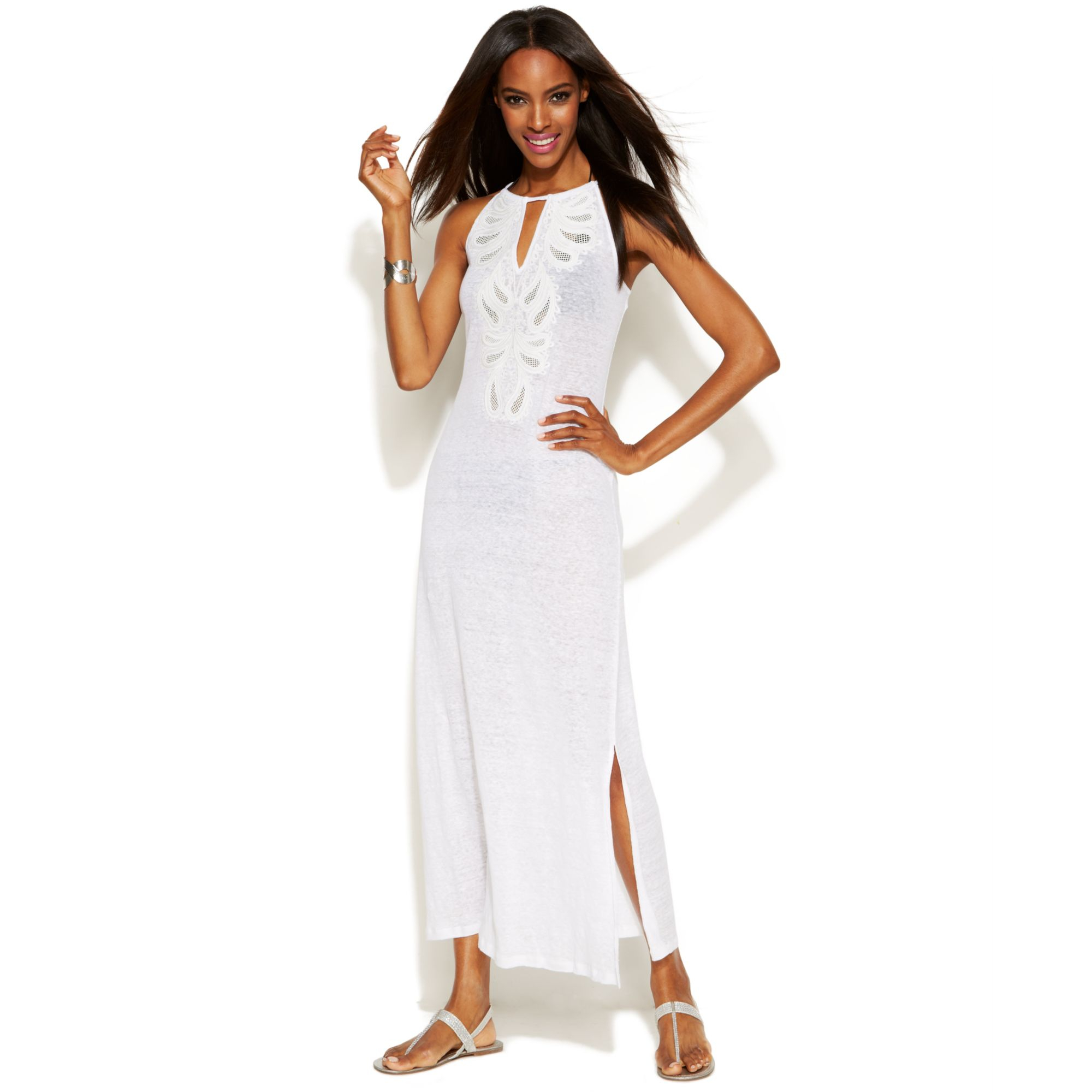 White linen maxi dresses