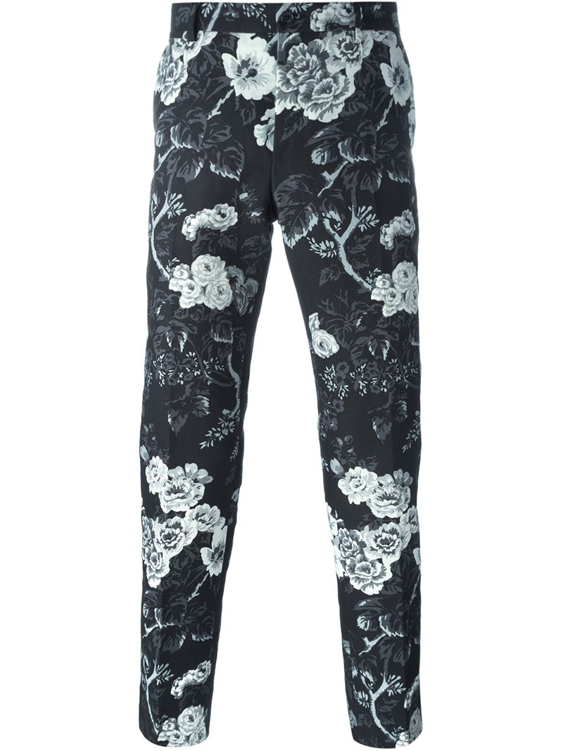 Lyst Dolce Gabbana Floral Print Straight Leg Trousers In Black