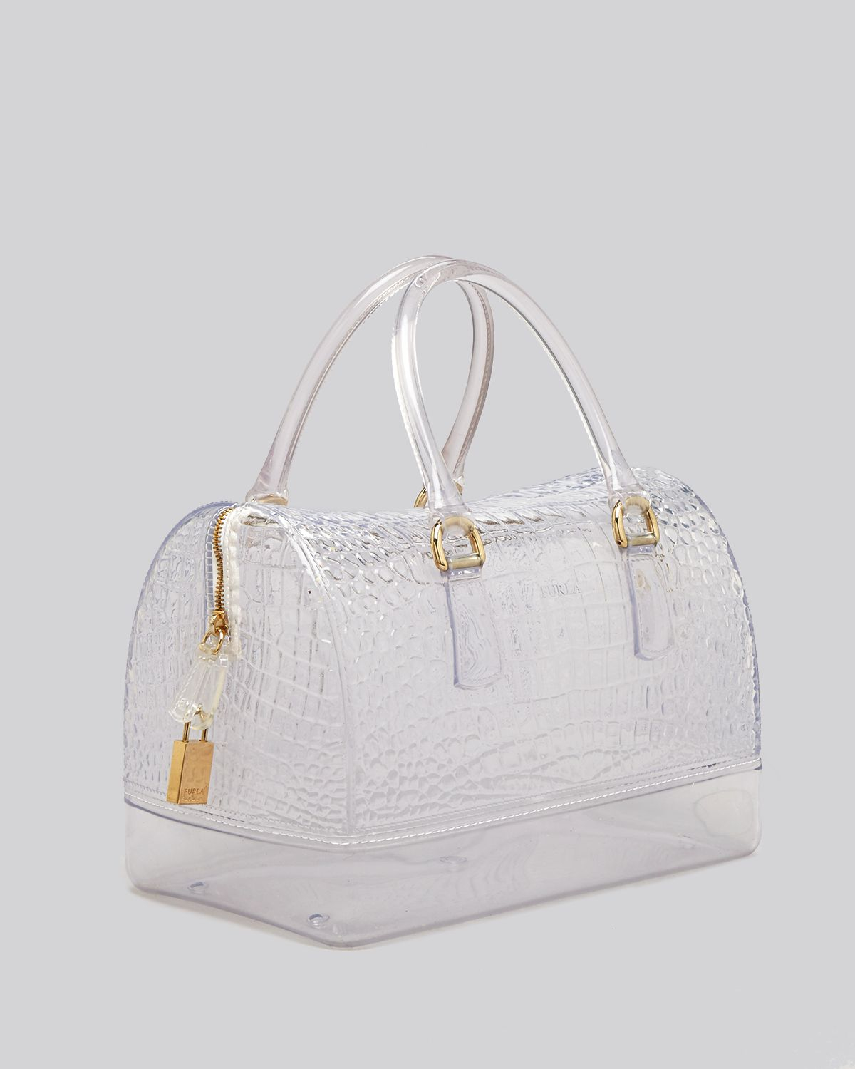 Furla Satchel Candy Clear Croc Embossed | Lyst