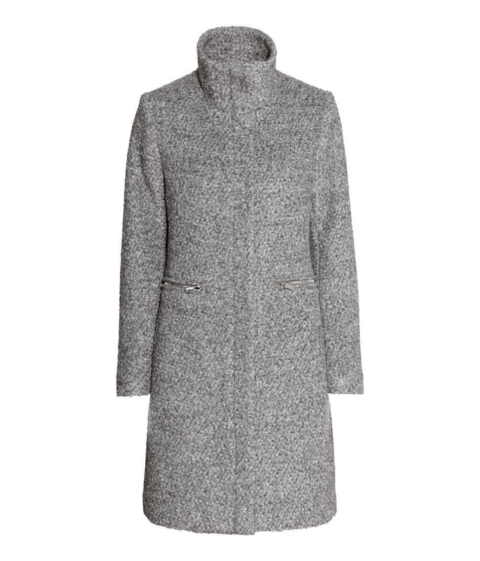 H&ampm Bouclé Coat In A Wool Blend in Gray | Lyst
