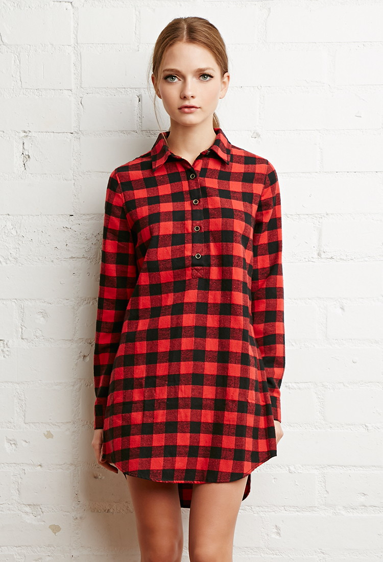Lyst Forever 21 Buffalo Plaid Shirt Dress In Red