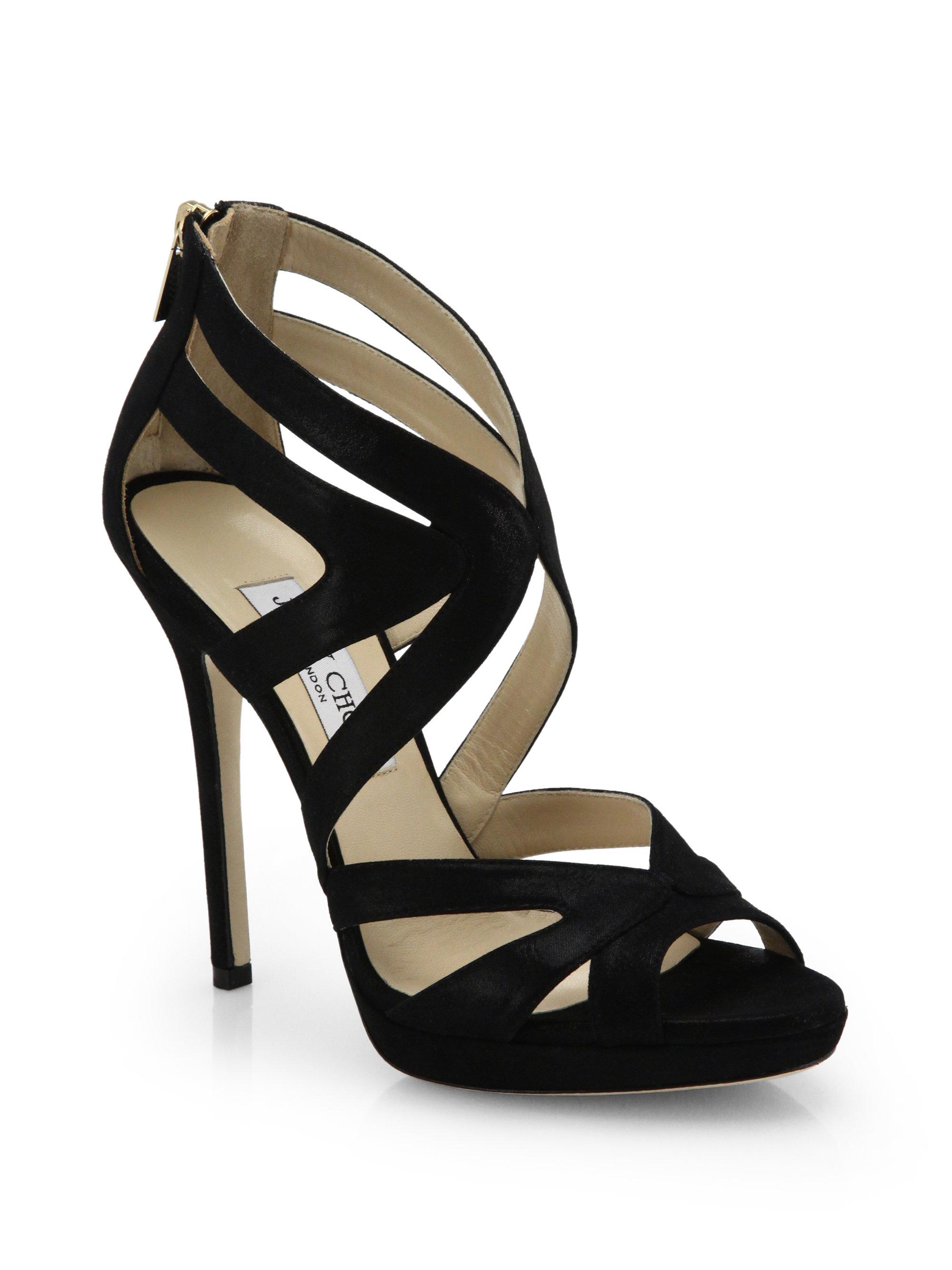 0cb9baef04c Lyst - Jimmy Choo Collar Shimmer Suede Platform Sandals in Black