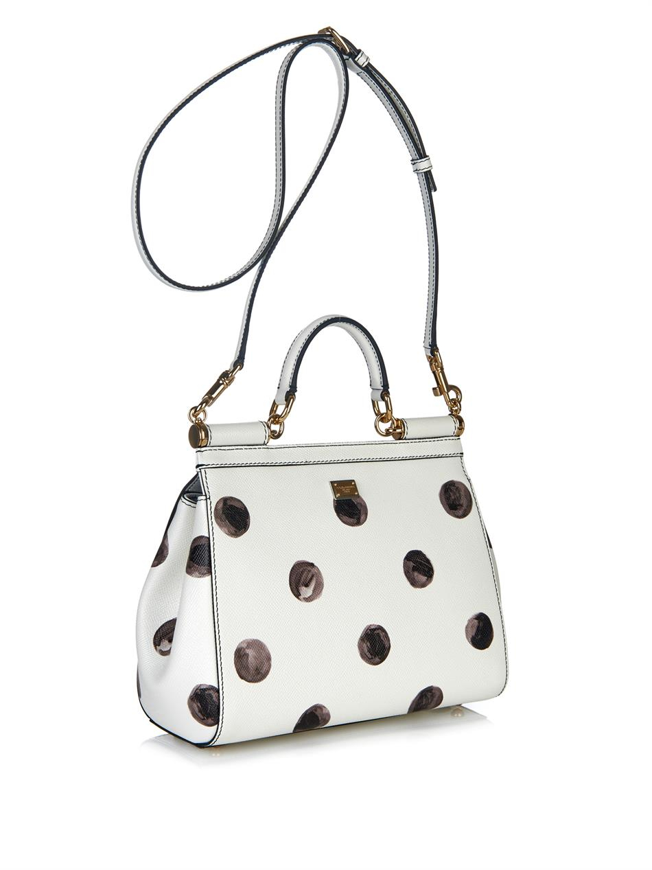 a41a6b3678a9 Lyst - Dolce   Gabbana Sicily Mini Polka-Dot Leather Bag in White