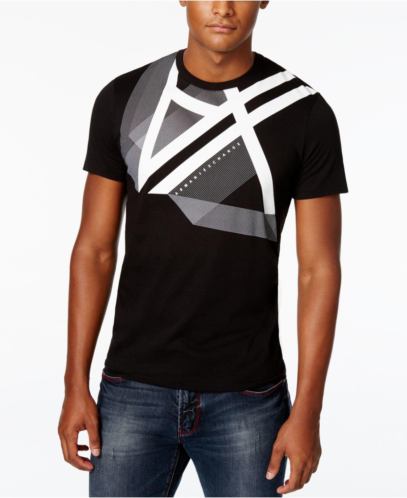Armani exchange men 39 s right side up graphic print logo t for Black armani t shirt