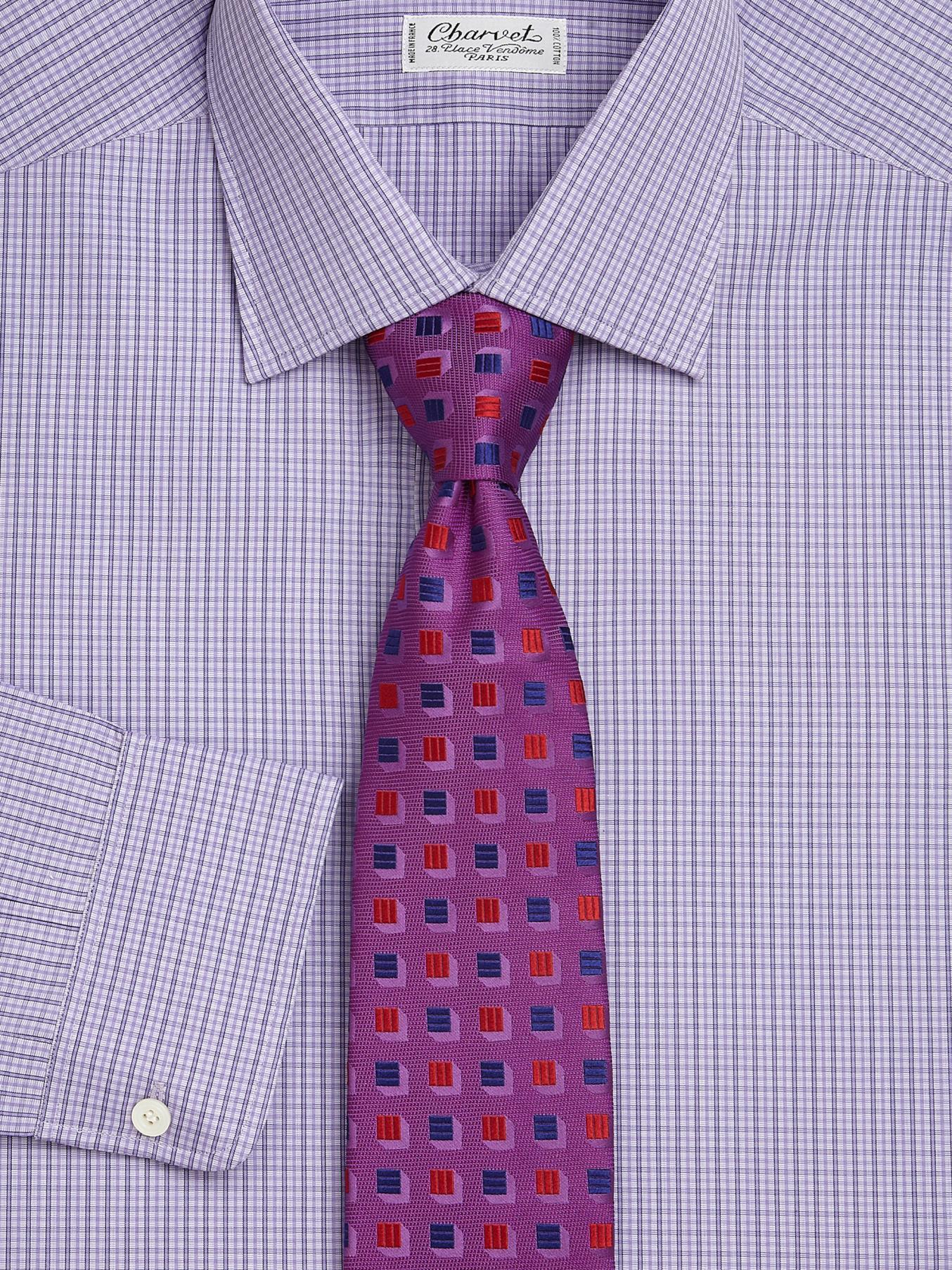 Lyst Charvet Plaid Slim Fit Cotton Dress Shirt In Purple