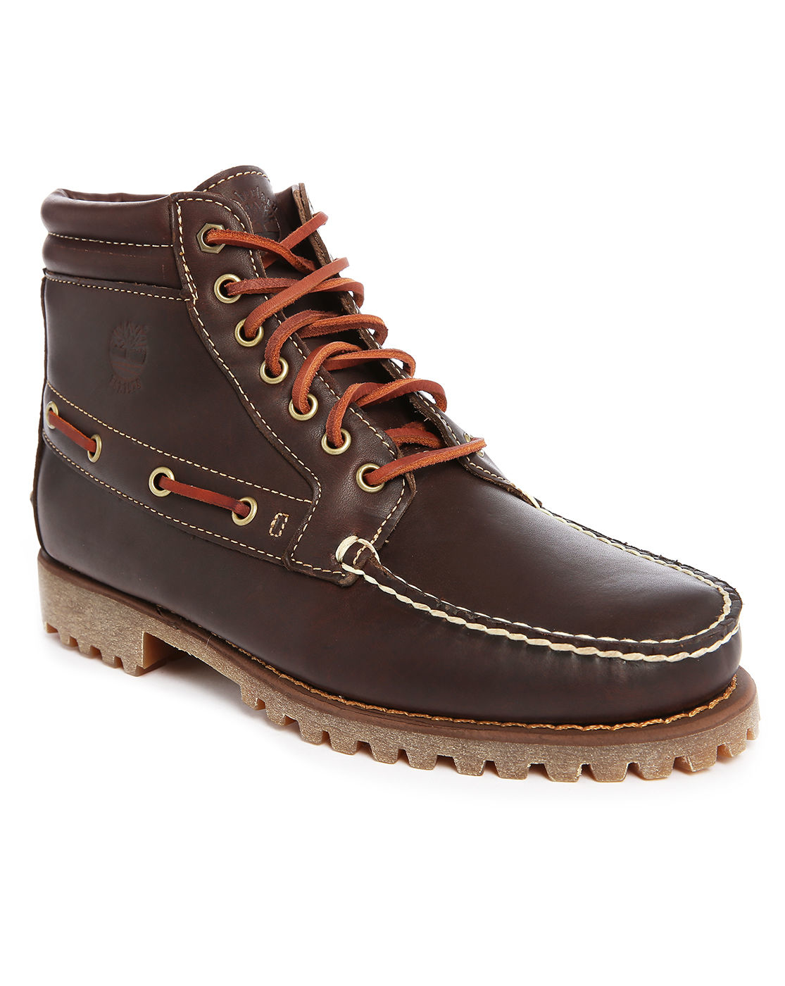 timberland boat 7 eye leather chukka boots in brown for
