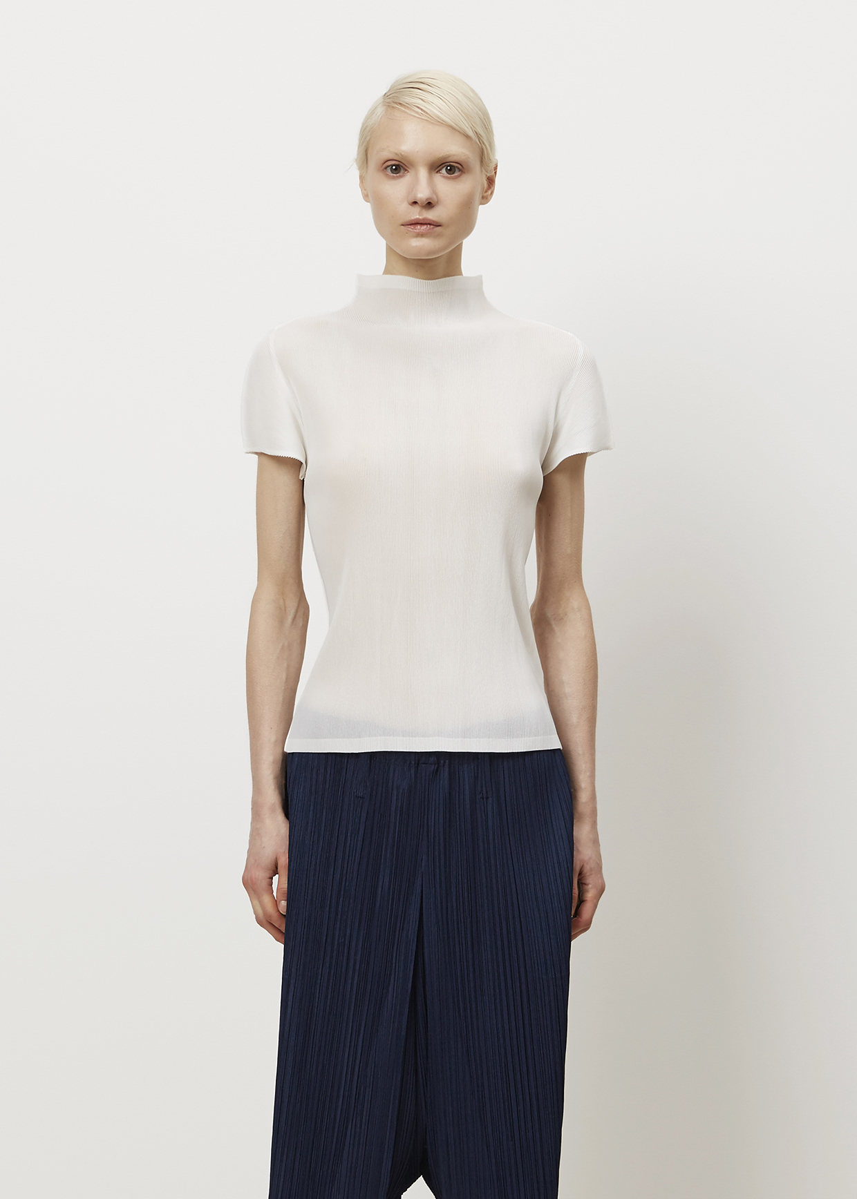 Pleats Please Issey Miyake White Mock Neck T Shirt In