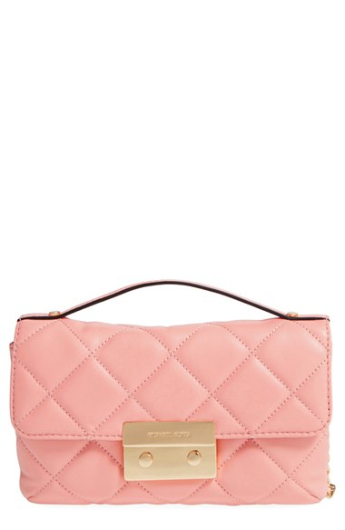 lyst michael michael kors small sloan lamb leather cross body bag in pink. Black Bedroom Furniture Sets. Home Design Ideas