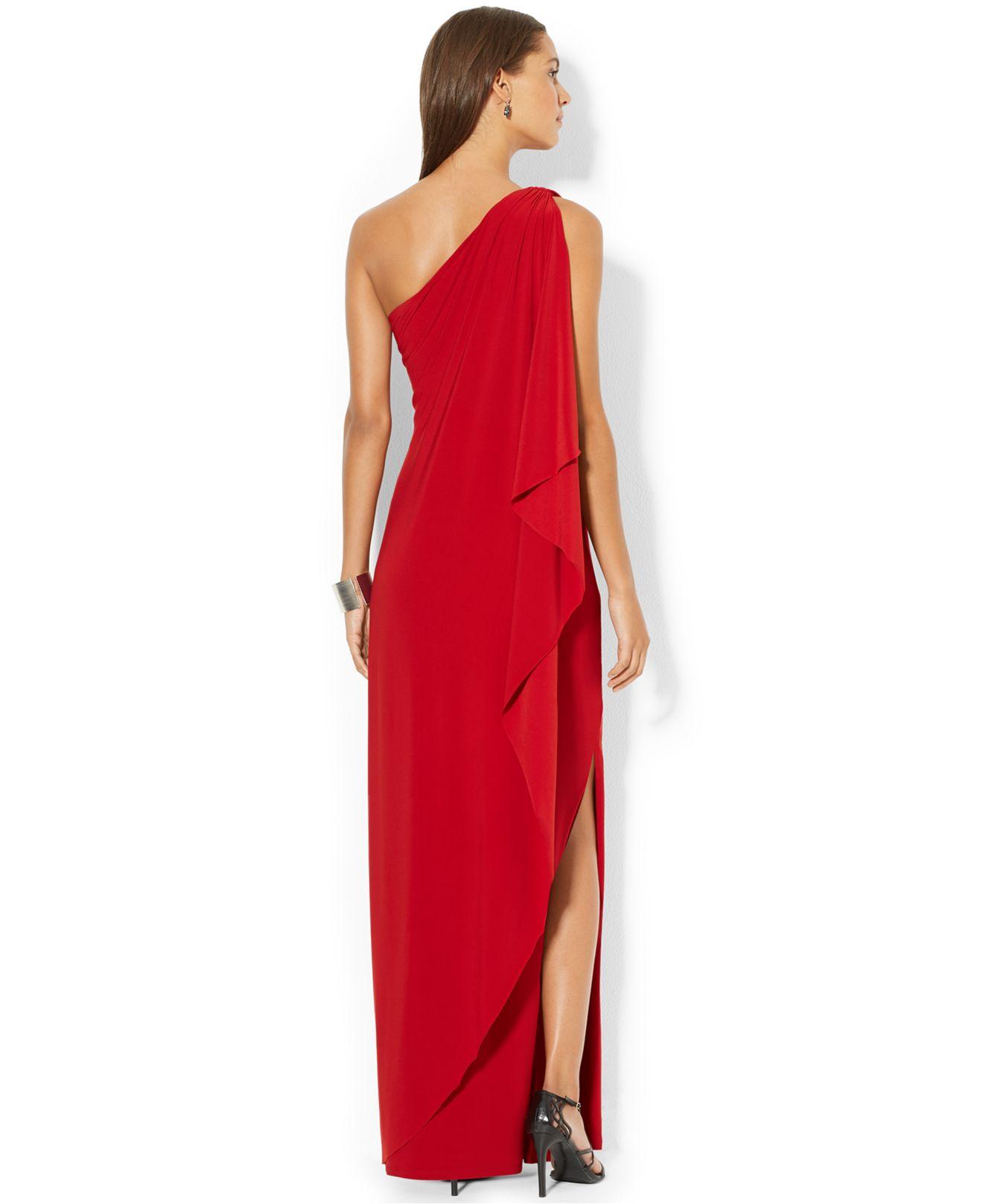 Lyst - Lauren By Ralph Lauren One-Shoulder Draped Gown in Red