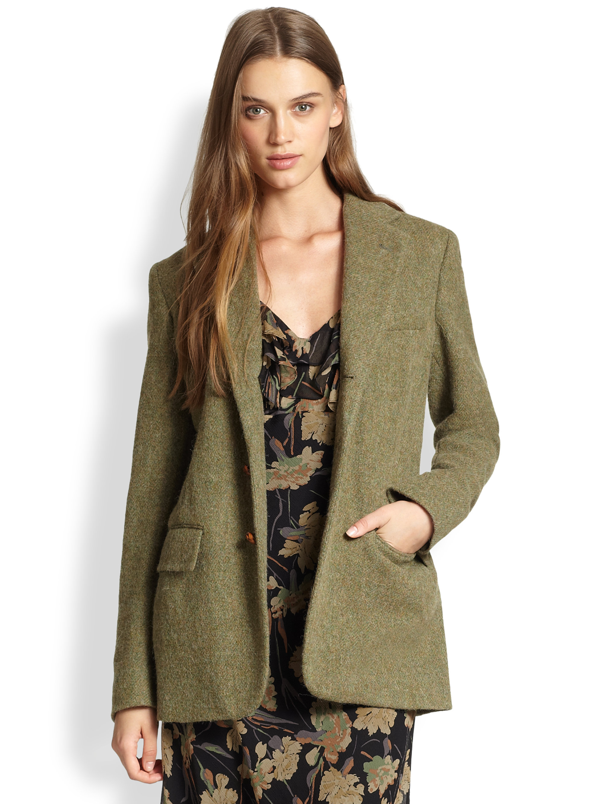 Polo ralph lauren Tweed Jacket in Green | Lyst