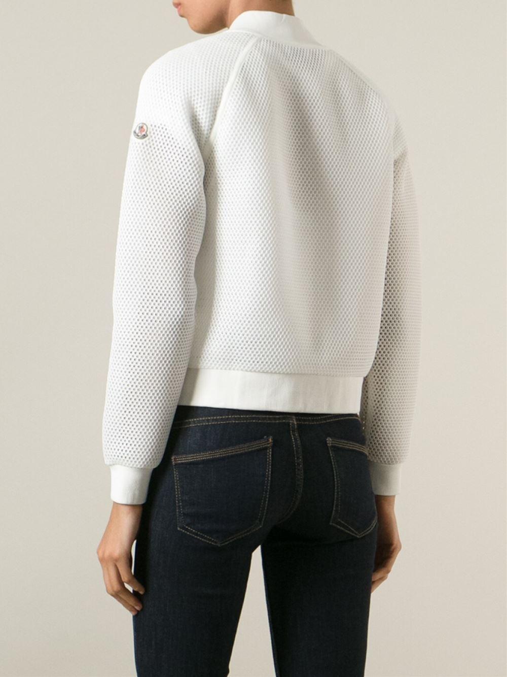 moncler white bomber jacket