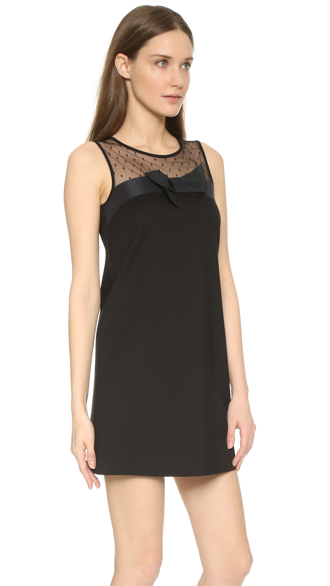 6adc572511851 Lyst - RED Valentino Tank Dress With Bow Detail in Black