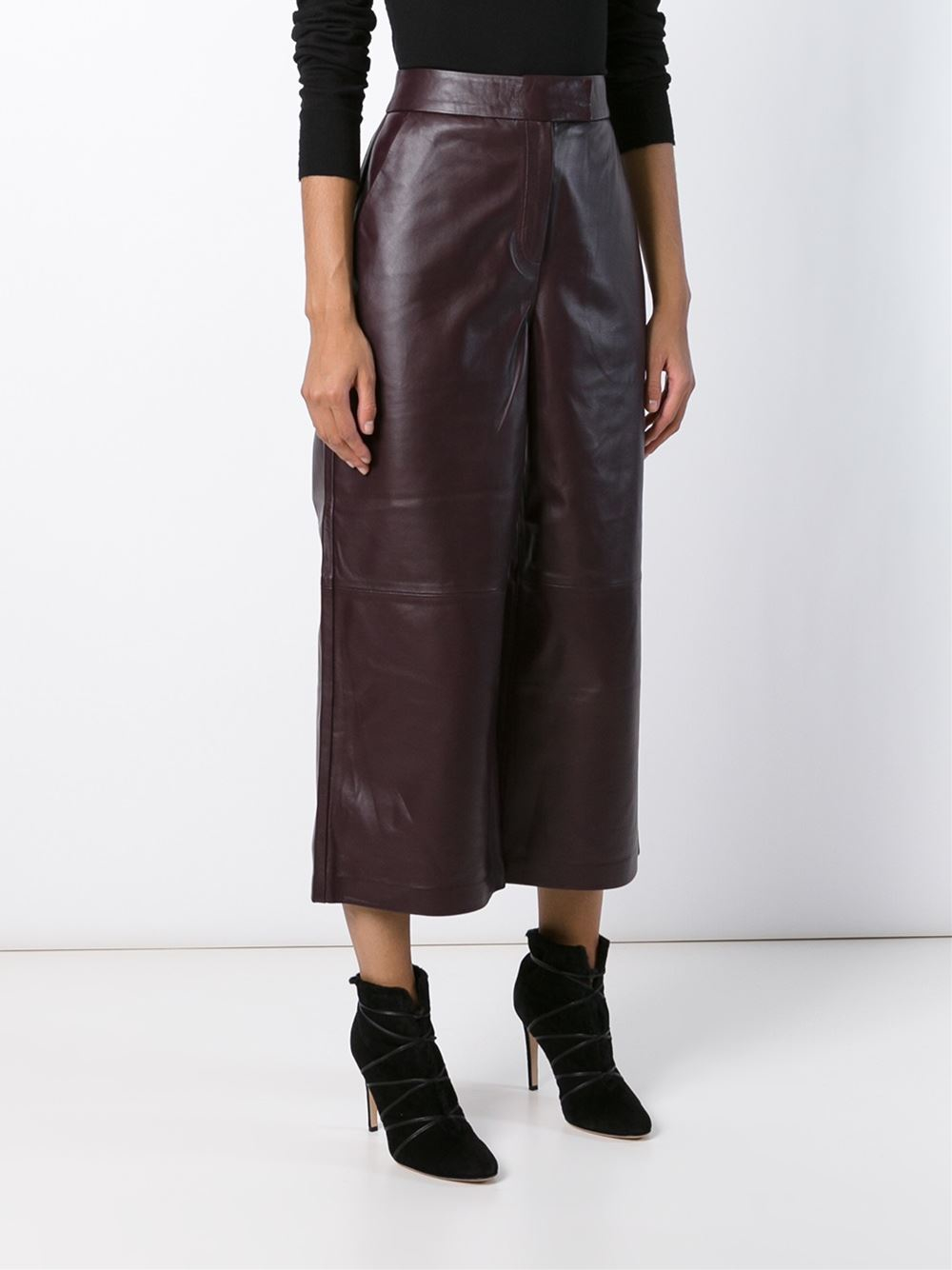 avelon leather culottes in red lyst