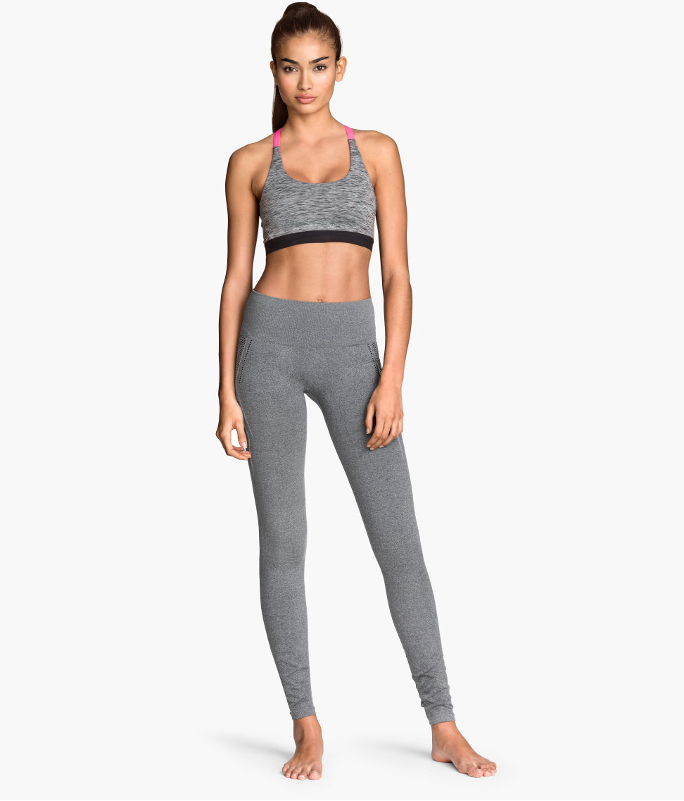 H&m Seamless Yoga Tights In Black