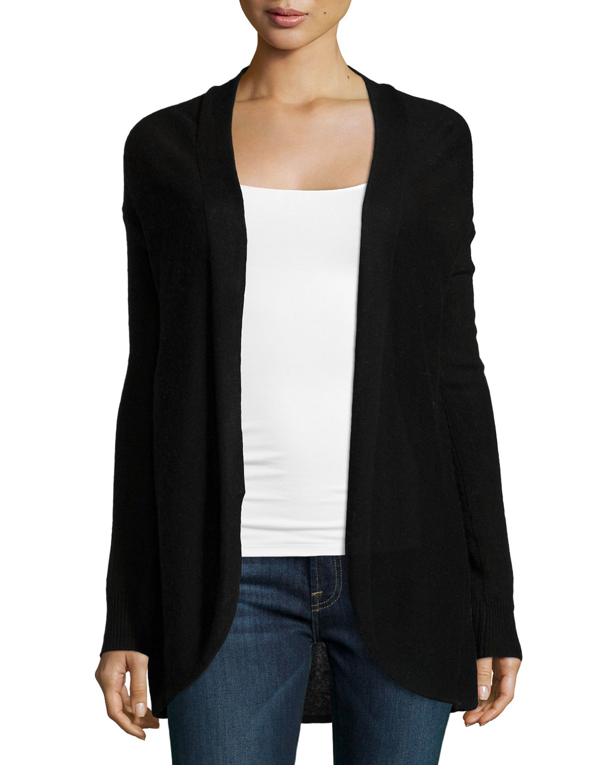 Neiman marcus Cashmere Pleated-back Open-front Cardigan in Black ...