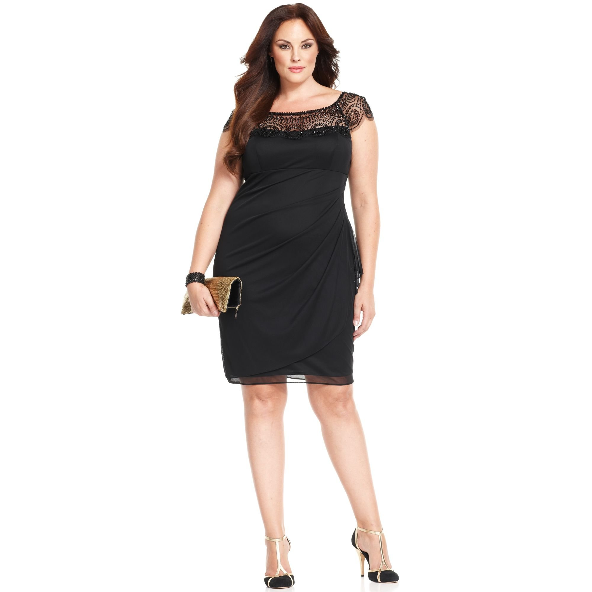 Lyst - Xscape Xscape Plus Size Dress Capsleeve Beaded in Black