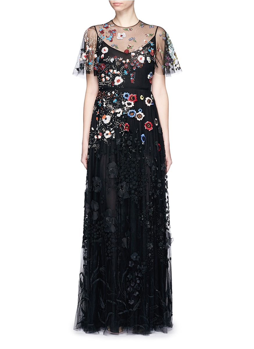Lyst - Valentino Floral Embroidery Bead Appliqué Tulle Gown in Black