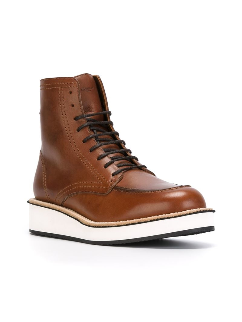 Lyst Givenchy Lace Up Boots In Brown For Men