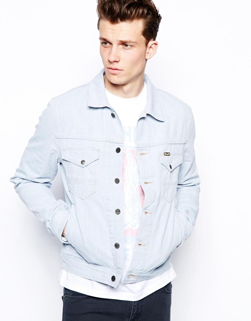 Lyst Wrangler Denim Jacket Slim Fit Wear Out Wash In Blue For Men