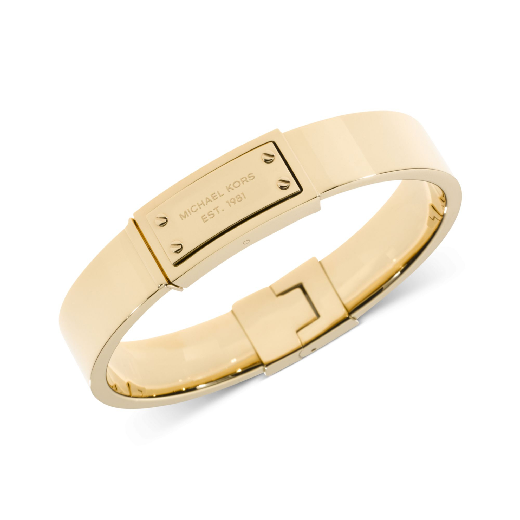 michael kors goldtone logo plaque bangle bracelet in gold