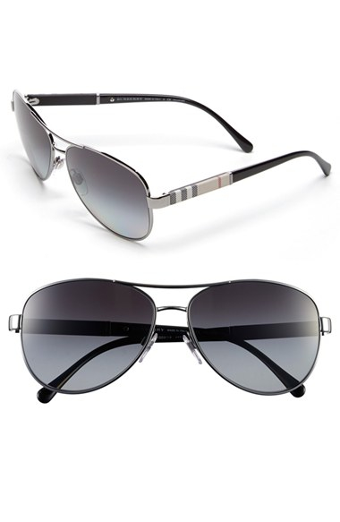 833eca0b32 Lyst - Burberry  london Check  59mm Metal Aviator Polarized ...