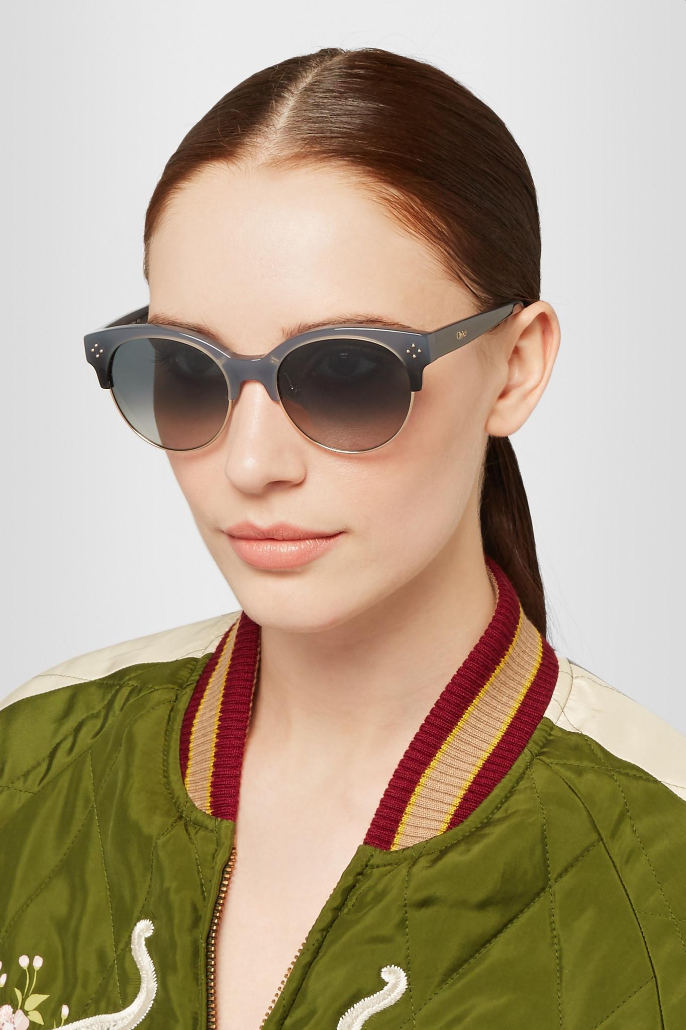 3fe01bd86fd Lyst - Chloé Chloé Boxwood Cat-eye Acetate And Gold-tone Sunglasses ...