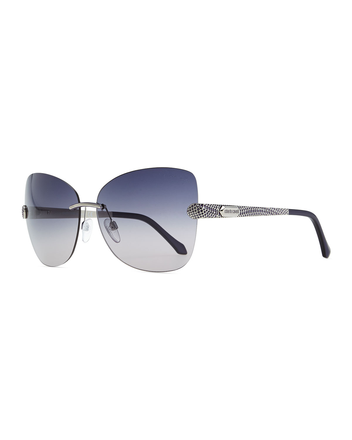 Rimless Glasses With Changeable Arms : Roberto Cavalli Rimless Sunglasses with Snakeprint Arms ...