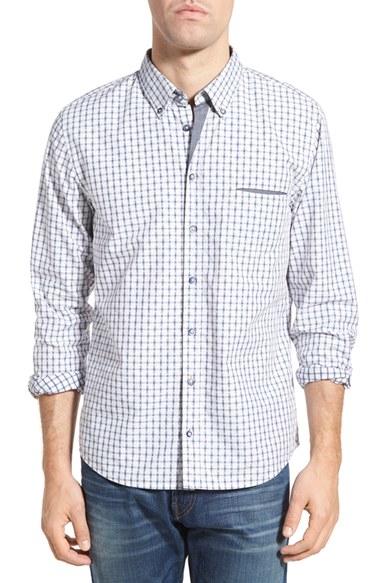 Boss orange 39 etwiste 39 extra trim fit plaid woven shirt in for Extra trim fit dress shirt