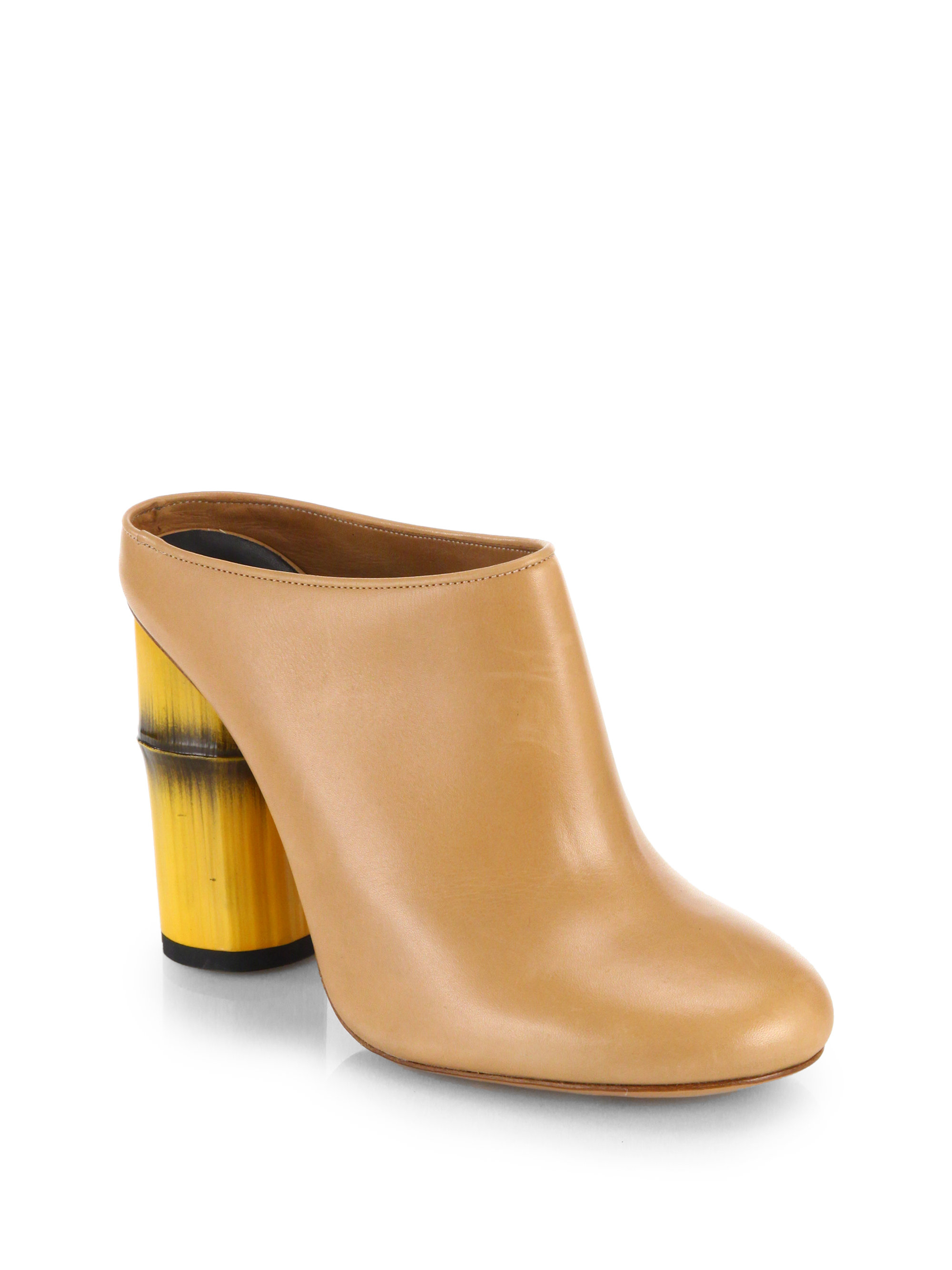 Lyst Acne Studios Flor Bamboo Heel Clogs In Natural