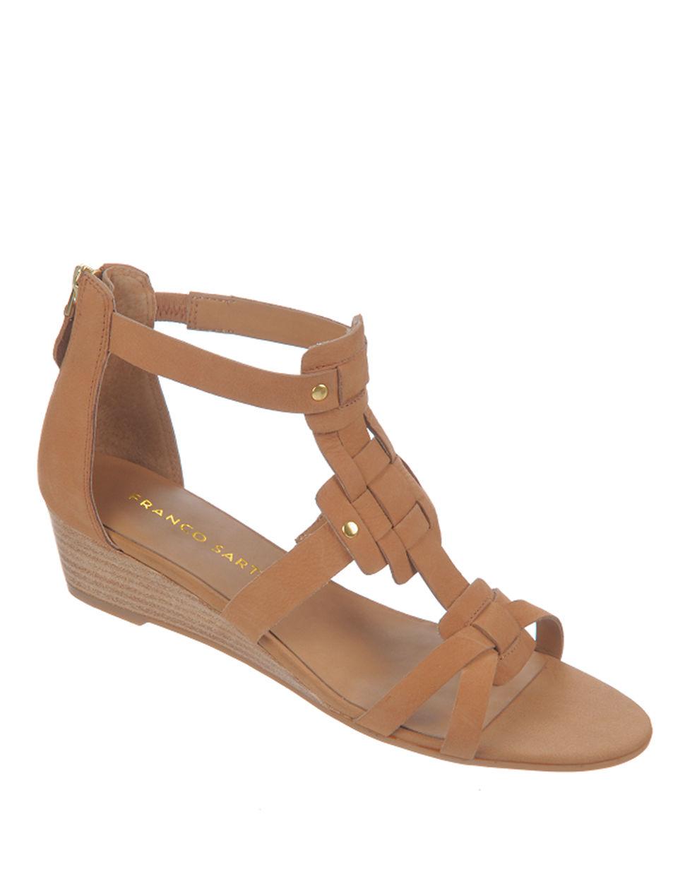franco sarto ulysses nubuck leather wedge sandals in brown