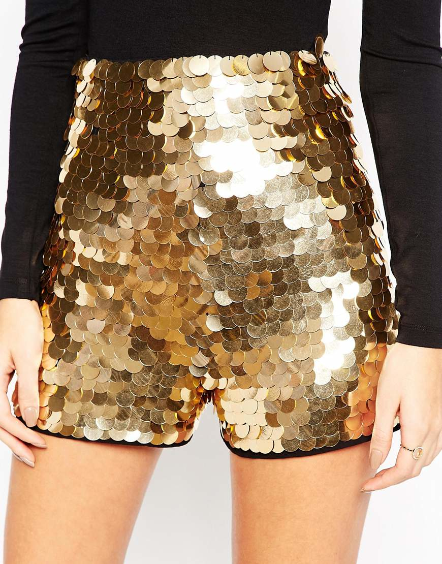 3f84ab4a ASOS Night Shorts In Gold Disc Sequins in Metallic - Lyst